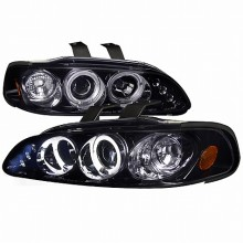 1992-1995 HONDA  CIVIC  SMOKED LENS GLOSS BLACK HOUSING PROJECTOR HEADLIGHTS (PAIR) (Spec-D Tuning) Replacement