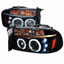 1997-2004 DODGE  DAKOTA  HALO PROJECTOR HEADLIGHTS (PAIR) GLOSS BLACK HOUSING SMOKE LENS  (Spec-D Tuning)