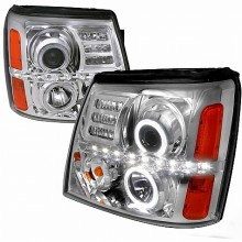 2002-2006 CADILLAC  ESCALADE PROJECTOR HEADLIGHTS (PAIR) CHROME HOUSING - NOT COMPATIBLE WITH FACTORY XENON (Spec-D Tuning)