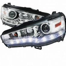 2008-2012 MITSUBISHI LANCER  R8 STYLE HEADLIGHTS (PAIR) CHROME HOUSING NON XENON MODEL (Spec-D Tuning)