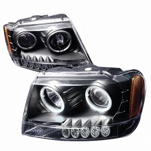 1999-2004 JEEP GRAND CHEROKEE HALO PROJECTOR HEADLIGHTS (PAIR) BLACK (Spec-D Tuning)