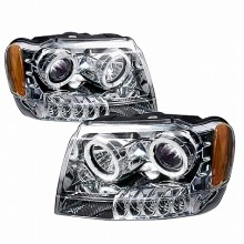 1999-2004 JEEP GRAND CHEROKEE HALO PROJECTOR HEADLIGHTS (PAIR) CHROME (Spec-D Tuning)