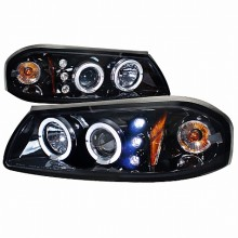 2000-2005 CHEVY  IMPALA  HALO PROJECTOR HEADLIGHTS (PAIR) GLOSS BLACK HOUSING SMOKE LENS  (Spec-D Tuning)