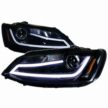 2011-2012 VOLKSWAGEN JETTA PROJECTOR HEADLIGHTS (PAIR) -GLOSSY BLACK (Spec-D Tuning)