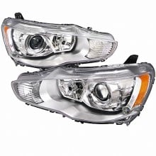 2008-2012 MITSUBISHI  LANCER  PROJECTOR HEADLIGHTS (PAIR) CHROME HOUSING  (Spec-D Tuning)