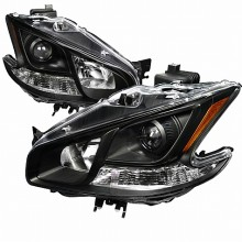 2009-2011 NISSAN  MAXIMA  PROJECTOR HEADLIGHTS (PAIR) BLACK HOUSING  (Spec-D Tuning)