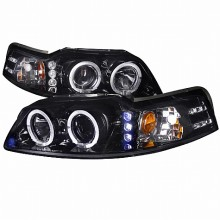 1999-2004 FORD  MUSTANG  SMOKED LENS GLOSS BLACK HOUSING PROJECTOR HEADLIGHTS (PAIR) (Spec-D Tuning)