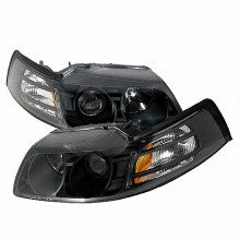 1999-2004 FORD MUSTANG HALO PROJECTOR HEADLIGHTS (PAIR) BLACK (Spec-D Tuning)