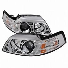 1999-2004 FORD MUSTANG HALO PROJECTOR HEADLIGHTS (PAIR) CHROME (Spec-D Tuning)