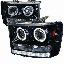 2007-2012 GMC SIERRA  PROJECTOR HEADLIGHTS (PAIR) GLOSS BLACK HOUSING WITH SMOKED LENS (Spec-D Tuning)