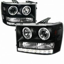 2007-2012 GMC  SIERRA  PROJECTOR HEADLIGHTS (PAIR) BLACK HOUSING  (Spec-D Tuning)