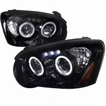 2004-2005 SUBARU  IMPREZA  SMOKED LENS GLOSS BLACK HOUSING PROJECTOR HEADLIGHTS (PAIR) (Spec-D Tuning)
