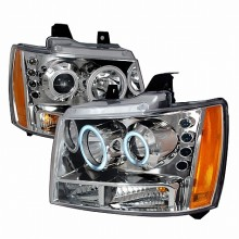 2007-2009 CHEVY AVALANCHE CCFL HALO PROJECTOR HEADLIGHTS (PAIR) CHROME (Spec-D Tuning)