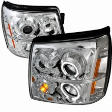 2002-2006 CADILLAC ESCALADE CCFL HALO PROJECTOR HEADLIGHTS (PAIR) CHROME (Spec-D Tuning)