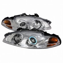 1997-1999 MITSUBISHI ECLIPSE CCFL HALO PROJECTOR HEADLIGHTS (PAIR) CHROME (Spec-D Tuning)