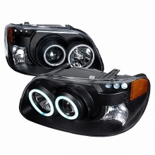 1995-2001 FORD EXPLORER CCFL HALO PROJECTOR HEADLIGHTS (PAIR) BLACK (Spec-D Tuning)