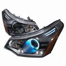 2008-2010 FORD FOCUS CCFL HALO PROJECTOR HEADLIGHTS (PAIR) BLACK (Spec-D Tuning)
