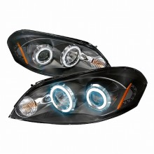 2006-2008 CHEVY IMPALA CCFL HALO PROJECTOR HEADLIGHTS (PAIR) BLACK (Spec-D Tuning)