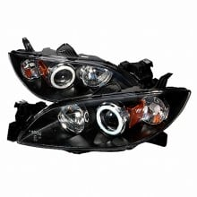 2004-2006 MAZDA 3 CCFL HALO PROJECTOR HEADLIGHTS (PAIR) BLACK (Spec-D Tuning)