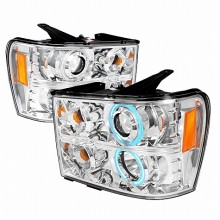 2007-2008 GMC SIERRA CCFL HALO PROJECTOR HEADLIGHTS (PAIR) CHROME (Spec-D Tuning)