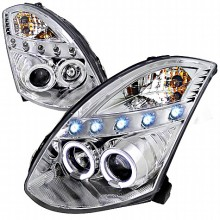 2003-2005 INFINITI G35 CHROME HOUSING PROJECTOR HEADLIGHTS (PAIR) OE HID COMPATIBLE D2 XENON BULB NOT INCLUDED  (Spec-D Tuning)