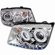 1999-2004 VOLKSWAGEN JETTA LED STRIPE DUAL HALO PROJECTOR HEADLIGHTS (PAIR) CHROME (Spec-D Tuning)