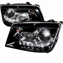 1999-2004 VOLKSWAGEN JETTA  R8 STYLE SMOKED LENS GLOSS BLACK HOUSING PROJECTOR HEADLIGHTS (PAIR) (Spec-D Tuning)