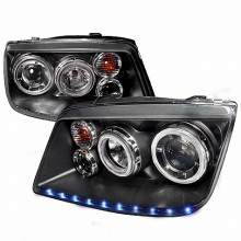1999-2004 VOLKSWAGEN JETTA LED STRIPE DUAL HALO PROJECTOR HEADLIGHTS (PAIR) BLACK (Spec-D Tuning)