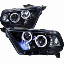 2010-2013  FORD  MUSTANG  PROJECTOR HEADLIGHTS (PAIR) GLOSS BLACK HOUSING SMOKE LENS HALOGEN MODEL ONLY  (Spec-D Tuning)