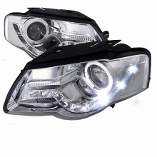 2006-2010 VOLKSWAGEN PASSAT R8 STYLE PROJECTOR HEADLIGHTS (PAIR) CHROME HOUSING (Spec-D Tuning)