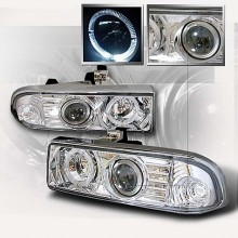 1998-2004 CHEVY S10 HALO PROJECTOR HEADLIGHTS (PAIR) CHROME (Spec-D Tuning)