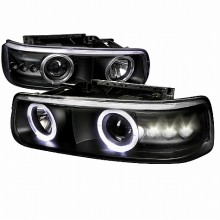 1999-2002 CHEVY  SILVERADO  PROJECTOR HEADLIGHTS (PAIR) BLACK HOUSING  (Spec-D Tuning)