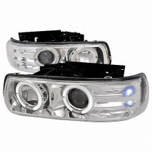 1999-2002 CHEVY SILVERADO DUAL HALO LED PROJECTOR HEADLIGHTS (PAIR) CHROME (Spec-D Tuning)