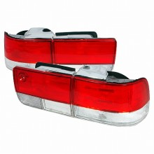 1992-1993 HONDA ACCORD TAIL LIGHTS (PAIR) RED CLEAR 4DR (Spec-D Tuning)