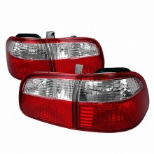 1999-2000 HONDA CIVIC TAIL LIGHTS (PAIR) RED CLEAR 4DR (Spec-D Tuning)