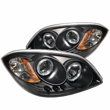 2005-2010 Chevy Cobalt Projector HeadLights (PAIR) - LED Halo - LED ( Replaceable LEDs ) - Black - High H1 (Included) - Low H1 (Included) (Spyder Auto)