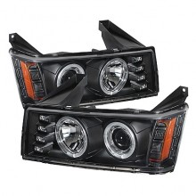 2004-2012 Chevy Colorado Projector HeadLights (PAIR) - Halogen Model Only ( Not Compatible With Xenon/HID Model ) - LED Halo - Black - High H1 (Included) - Low H1 (Included) (Spyder Auto)