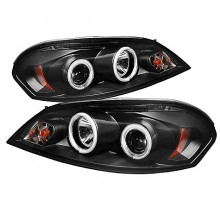 2006-2013 Chevy Impala - Projector HeadLights (PAIR) - CCFL Halo - LED ( Replaceable LEDs ) - Black - High H1 (Included) - Low H1 (Included) (Spyder Auto)