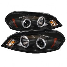 2006-2013 Chevy Impala - Projector HeadLights (PAIR) - LED Halo - LED ( Replaceable LEDs ) - Black - High H1 (Included) - Low H1 (Included) (Spyder Auto)