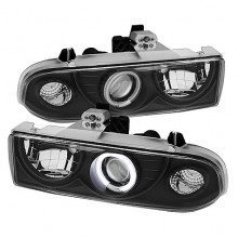 1998-2004 Chevy S10 Projector HeadLights (PAIR) - CCFL Halo - Black - High 9005 (Not Included) - Low H1 (Included) (Spyder Auto)