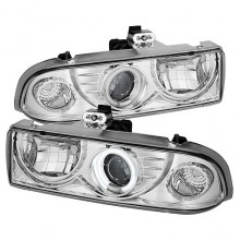 1998-2004 Chevy S10 Projector HeadLights (PAIR) - CCFL Halo - Chrome - High 9005 (Not Included) - Low H1 (Included) (Spyder Auto)