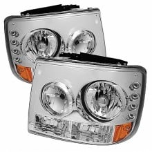 1999-2002 Chevy Silverado 1500/2500 1PC W/ Bumper Lights (PAIR) ( Require GRI-SP-CS99-CT Grille ) LED ( Replaceable LEDs ) Crystal Headlights - Chrome (Spyder Auto)