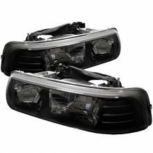 1999-2002 Chevy Silverado 1500/2500 Crystal HeadLights (PAIR) - Black (Spyder Auto)