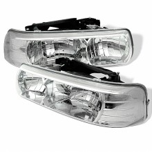1999-2002 Chevy Silverado 1500/2500 Crystal HeadLights (PAIR) - Chrome (Spyder Auto)