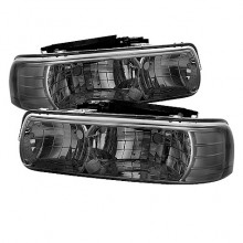 1999-2002 Chevy Silverado 1500/2500 Crystal HeadLights (PAIR) - Smoke (Spyder Auto)