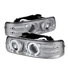 1999-2002 Chevy Silverado 1500/2500 Projector HeadLights (PAIR) - CCFL Halo - LED ( Replaceable LEDs ) - Chrome - High 9005 (Not Included) - Low H1 (Included) (Spyder Auto)