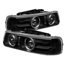 1999-2002 Chevy Silverado 1500/2500 Projector HeadLights (PAIR) - LED Halo - LED ( Replaceable LEDs ) - Black - High 9005 (Not Included) - Low H1 (Included) (Spyder Auto)