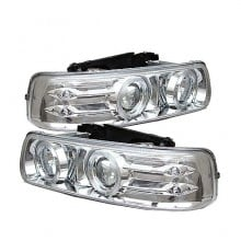 1999-2002 Chevy Silverado 1500/2500 Projector HeadLights (PAIR) - LED Halo - LED ( Replaceable LEDs ) - Chrome - High 9005 (Not Included) - Low H1 (Included) (Spyder Auto)