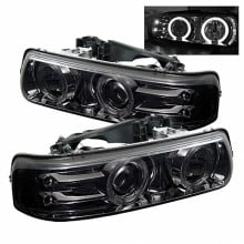 1999-2002 Chevy Silverado 1500/2500 Projector HeadLights (PAIR) - LED Halo - LED ( Replaceable LEDs ) - Smoke - High 9005 (Not Included) - Low H1 (Included) (Spyder Auto)