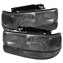 1999-2002 Chevy Silverado 1500/2500 Amber Crystal Headlights With Bumper Lights (PAIR) - Smoke (Spyder Auto)
